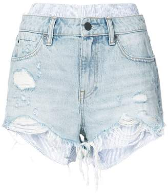 Alexander Wang shirt hem distressed denim shorts