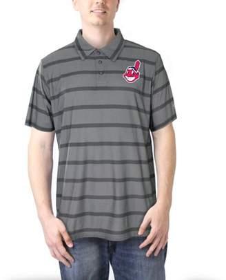 MLB Cleveland Indians Men's Charcoal Yarn Dye Stripe Polo
