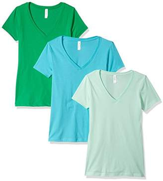 Blend of America Clementine Apparel Women's 3 Pack Women's Ladies V Neck T Shirts SoftComfort Cotton Short Sleeve Undershirt Top Tees Assorted Blank Solid Colors (1540)