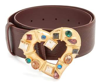 Dolce & Gabbana Crystal-embellished heart-buckle leather belt