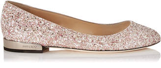 Jimmy Choo JESSIE FLAT Rosewood Mix Painted Glitter Fabric Round Toe Flats