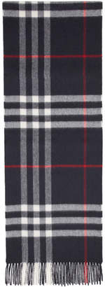 Burberry Navy Check The Classic Cashmere Scarf