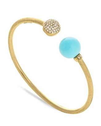 Marco Bicego 18k Gold Africa Diamond & Turquoise Bangle