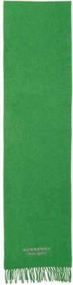 Burberry (バーバリー) - Burberry グリーン カシミア ロゴ スカーフ