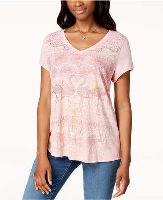 Style&Co. Style & Co Petite Printed V-Neck Top, Created for Macy's