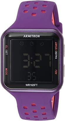 Armitron Sport Unisex 40/8417PUR Pink Accented Digital Chronograph Purple Perforated Silicone Strap Watch