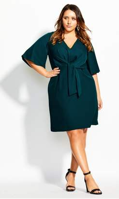 City Chic Citychic Knot Front Dress - Green