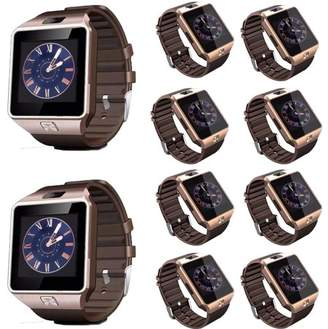 AmazingForLess 10 Pack DZ-09 Gold Smart Watch Wholesale Lot Touch Screen Bluetooth Smart Wrist Watch - Supports SIM + Memory Card