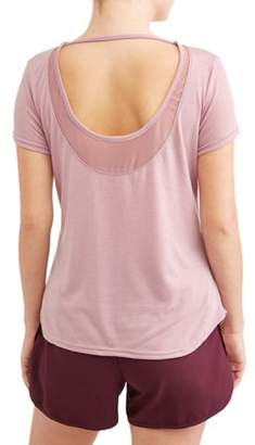 a15dae2029 at Walmart.com · Daisy Fuentes Women s Active Performance Mesh Inset Scoop  Back Tee