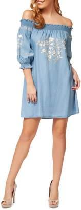Dex Off-The-Shoulder Embroidered Shift Dress