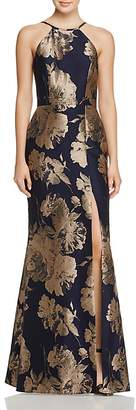 Avery G Floral Brocade Gown