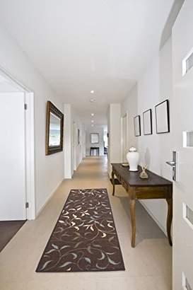 Ottomanson Ottohome Collection Contemporary Leaves Design Modern Hallway Runner Rug