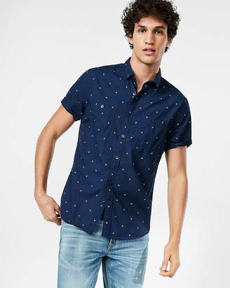 Express Slim Dotted Short Sleeve Cotton Shirt
