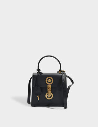 1b374c2e5f75 Versace Tribute Icon Medusa Vertical Small Top Handle Bag in Black Calfskin