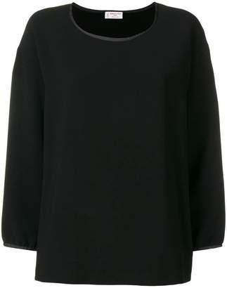 Alberto Biani satin trim crepe blouse