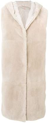 Max Mara fur detail sleeveless jacket