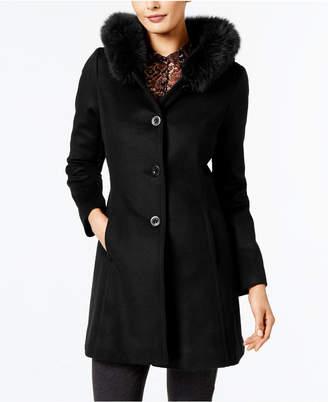 Forecaster Fox-Fur-Trim A-Line Walker Coat