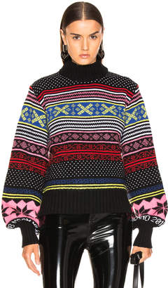 MSGM Cropped Sweater in Red, Pink & Yellow Multi | FWRD