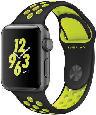 + Apple Watch Nike+ 38mm Space Gray Aluminum Case with Black/Volt Nike Sport Band $369 thestylecure.com