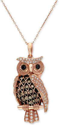 Effy Confetti by White and Brown Diamond Owl Pendant Necklace (1/2 ct. t.w.) in 14k Rose Gold