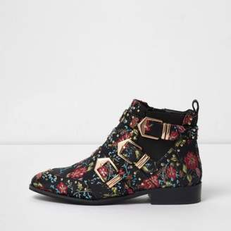 River Island Womens Black floral multi buckle ankle boots