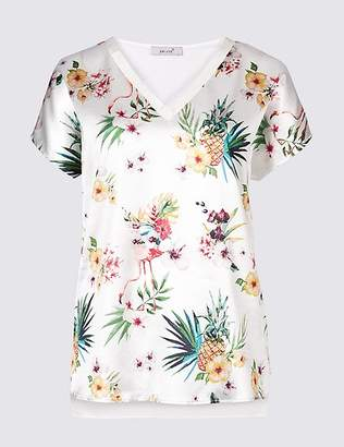 Marks and Spencer Pineapple Print V-Neck Short Sleeve Top