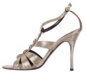 Fendi Metallic Cage Sandals