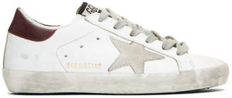 Golden Goose SSENSE Exclusive White and Burgundy Superstar Sneakers