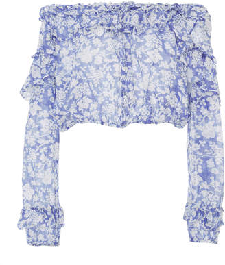 LoveShackFancy Off-The-Shoulder Floral-Print Cotton And Silk-Blend Top