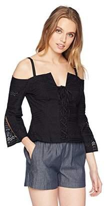 BCBGMAXAZRIA Women's Cold Shoulder Lace Up Top