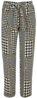 River Island Girls Mono Chain Dogtooth Carla Trousers - Natural