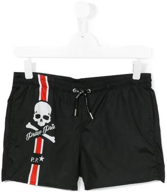 Philipp Plein Junior logo print swim shorts
