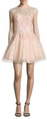 Basix II Black Label Floral Lace Fit-&-Flare Dress
