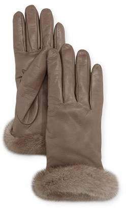 Guanti Giglio Fiorentino Leather Gloves w/ Mink Fur Cuffs