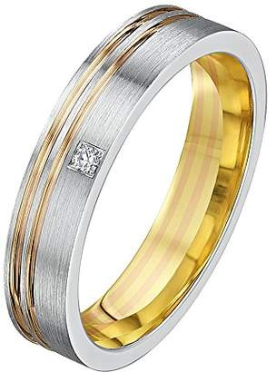 Theia His & Hers 14ct Rose and White Gold Two-Tone 4mm Grooved Diamond Wedding Ring - Size O