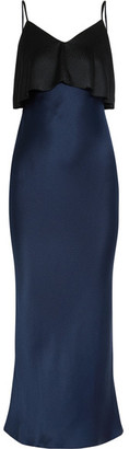 Diane von Furstenberg - Two-tone Hammered Silk-satin Midi Dress - Black $430 thestylecure.com