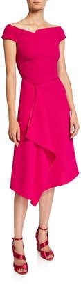 Roland Mouret Barwick Cap-Sleeve Cascade-Front Dress