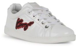 KENZO Imprime Embroidered Leather Low-Top Sneakers $340 thestylecure.com
