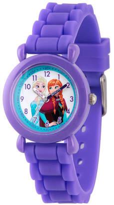 EWatchFactory Disney Frozen Elsa and Anna Girls' Purple Plastic Time Teacher Watch