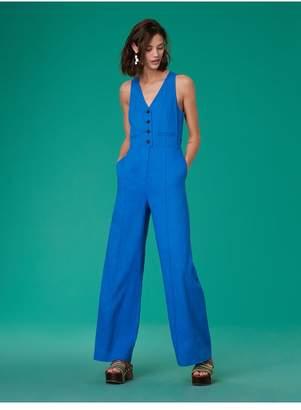 Diane von Furstenberg Sleeveless Button-Up Fitted Linen Jumpsuit