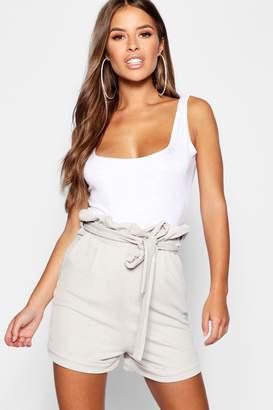 boohoo Petite Paper Bag Waist Shorts