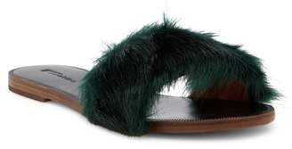 Matiko Pom Genuine Rabbit Fur Slide Sandal