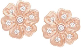 Jamie Wolf Lilac Diamond Flower Stud Earrings