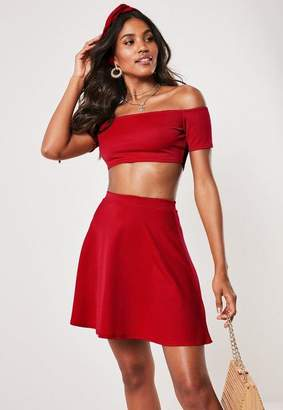 ac32d3afe6a Missguided Red Bardot Crop Top Skater Skirt Co Ord Set, Red