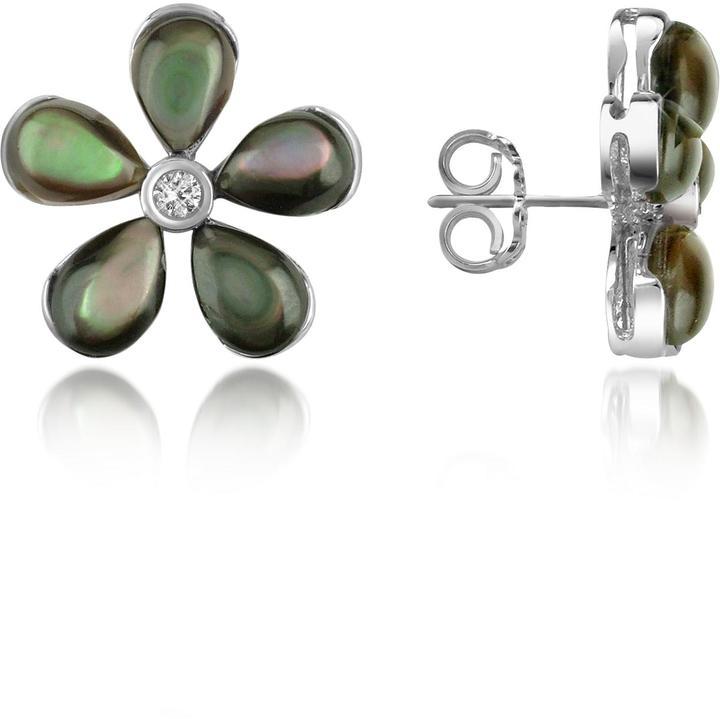 Del Gatto Diamond Gemstone Flower 18K Gold Earrings