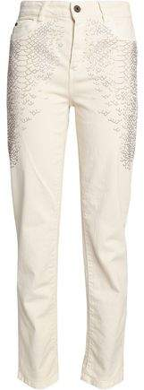 Crystal-Embellished High-Rise Straight-Leg Jeans