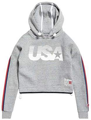 Superdry Women's Gym Tech USA Crop Hooded Pullover Sweatshirt