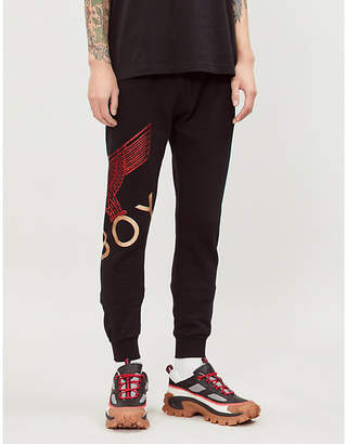 Boy London Glittered logo-print relaxed-fit cotton-jersey jogging bottoms
