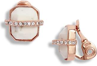 Vince Camuto Trapped Semiprecious Stone Clip Earrings