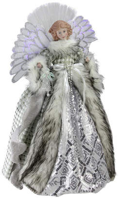 Northlight Lighted Fiber Optic Angel in Silver-Tone Gingham Coat Christmas Tree Topper